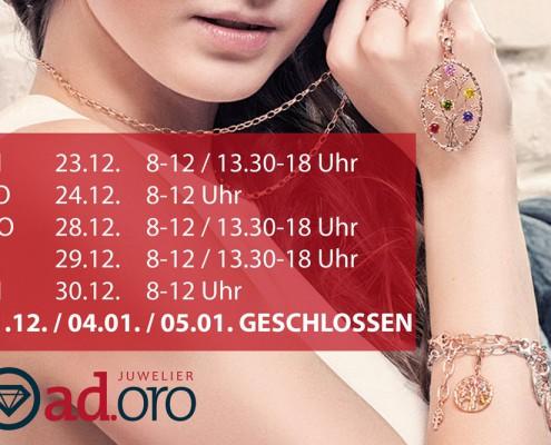 Juwelier adoro - Weihnachtsöffnungszeiten