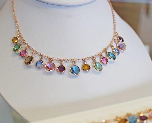 Collier Silber rose vergoldet Farbsteine bunt Juwelier Rohrbach